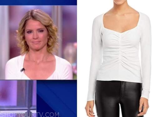 the view, sara haines, white long sleeve top