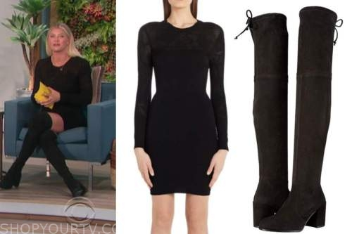 amanda kloots, the talk, black knit dress, black suede boots