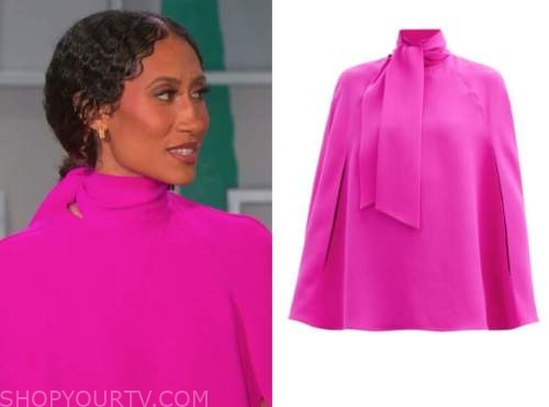 elaine welteroth, the talk, hot pink cape tie neck blouse