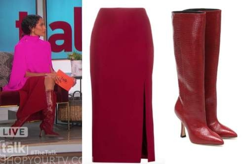 elaine welteroth, the talk, red slit skirt, red boots