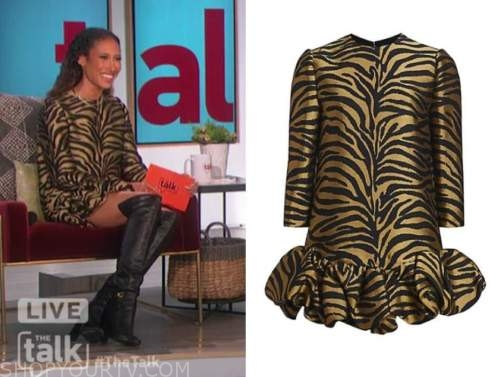elaine welteroth, the talk, gold and black zebra tiger stripe dress