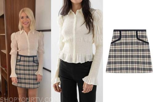 this morning, holly willoughby, smocked ivory top, plaid skirt
