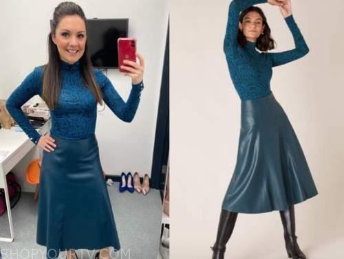 laura tobin, good morning britain, teal blue turtleneck and teal blue leather midi skirt