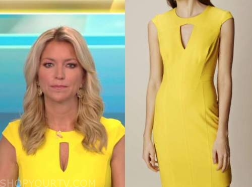 ainsley earhardt, yellow keyhole sheath dress, fox and friends