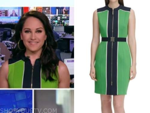 outnumbered, emily compagno, green and blue colorblock dress