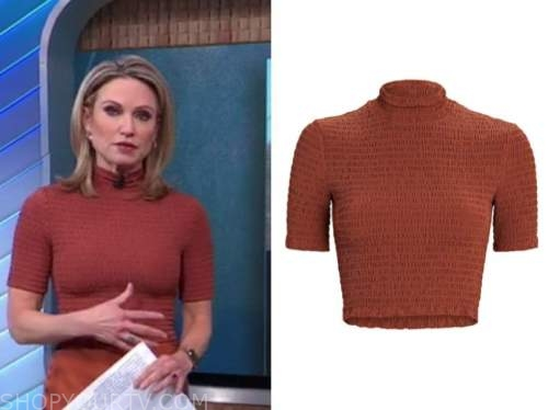 amy robach, good morning america, rust brown smocked mock neck top