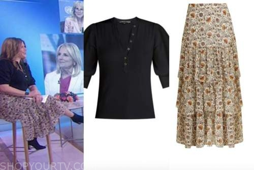 jenna bush hager, the today show, black top, floral paisley skirt