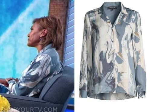robin roberts, good morning america, blue abstract silk blouse
