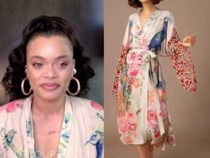andra day, drew barrymore show, peacock floral kimono robe