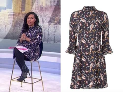 sheinelle jones, the today show, navy blue floral mock neck dress