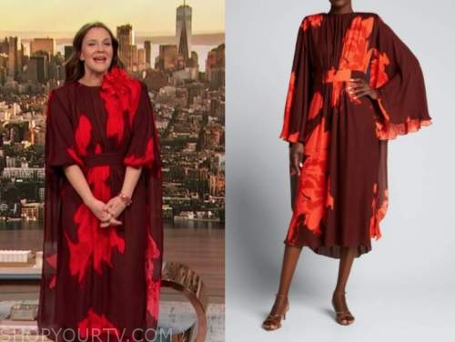 drew barrymore, drew barrymore show, red floral cape dress