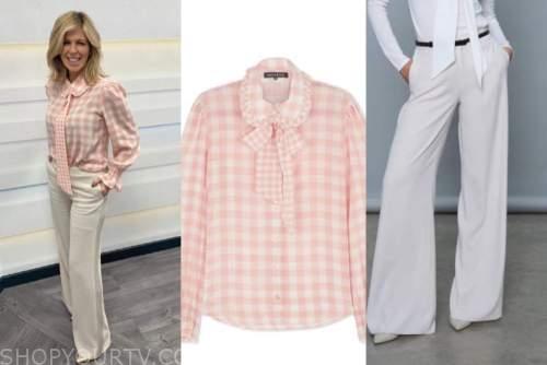 kate garraway, good morning britain, pink gingham blouse, ivory trouser pants