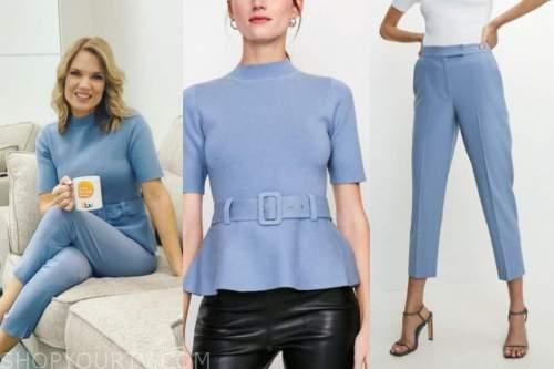 charlotte hawkins, good morning britain, blue belted top, blue pants