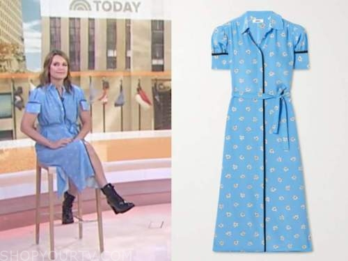 the today show, savannah guthrie, blue floral midi shirt dress