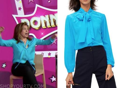hoda kotb, the today show, blue tie neck blouse