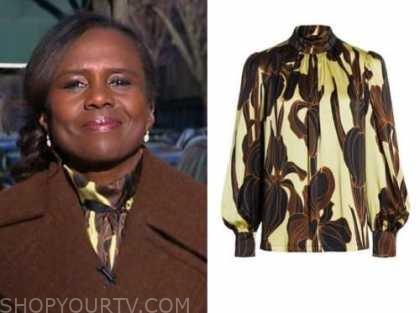 deborah roberts, good morning america, yellow and brown satin mock neck blouse