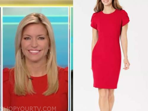 ainsley earhardt, fox and friends, red puff sleeve sheath dress