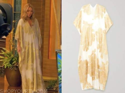 live with kelly and ryan, kelly ripa, gold metallic kaftan