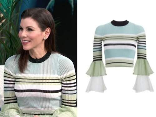 heather dubrow, E! news, daily pop, striped bell sleeve sweater