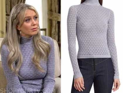 abby newman, melissa ordway, lilac metallic turtleneck, the young and the restless