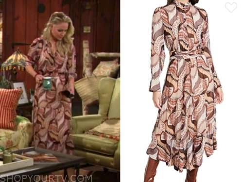 sharon newman, sharon case, the young and the restless, beige and brown printed midi dress