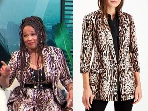 kym whitley, E! news, daily pop, leopard blazer