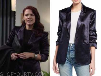 sally spectra, navy blue satin blazer, courtney hope, the young and the restless