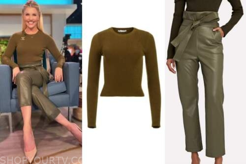 amanda kloots, the talk, green sweater top, green leather pants