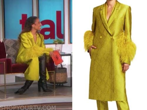 elaine welteroth, the talk, yellow jacquard feather coat