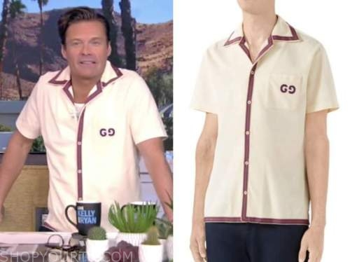 ryan seacrest, live with kelly and ryan, ivory bowling shirt