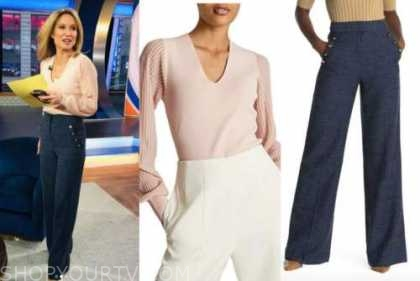 good morning america, amy robach, pink top, navy blue button pants