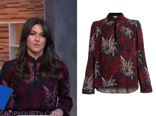erielle reshef, good morning america, floral tie neck blouse