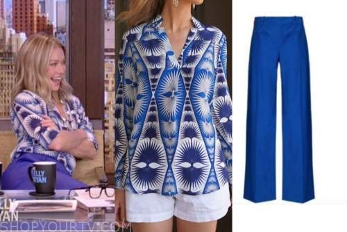 kelly ripa, live with kelly and ryan, blue printed top, blue pants