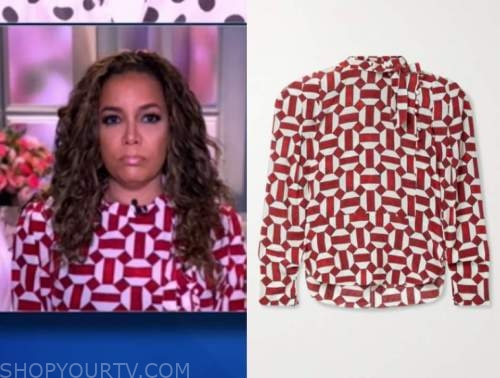 sunny hostin, the view, red and white geometric blouse
