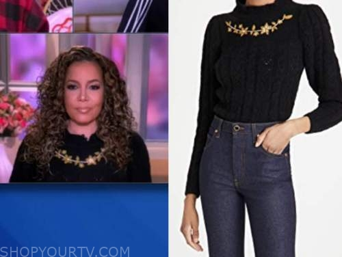 sunny hostin, the view, black floral embroidered sweater