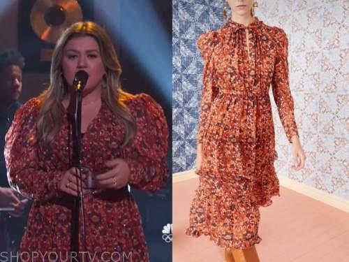 kelly clarkson, the kelly clarkson show, orange metallic midi dress