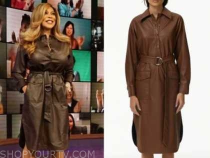 wendy williams, the wendy williams show, brown leather shirt dress