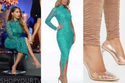 ryan claytor, the bachelor, women tell all, green sequin dress, clear pumps