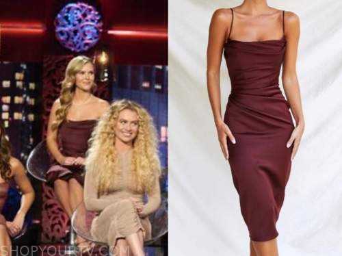 anna redman, the bachelor, women tell all, burgundy drape dress