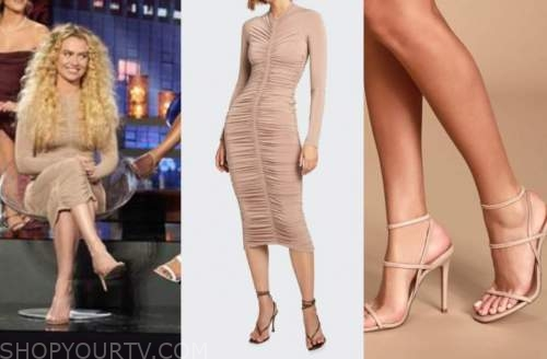 mj snyder, the bachelor, beige ruched dress, beige sandals, women tell all