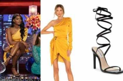 KHAYLAH EPPS, the bachelor, yellow one-shoulder dress, black wrap sandals, women tell all