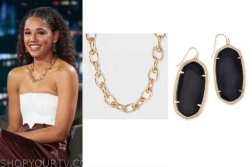 pieper james, the bachelor, gold chain necklace, black drop earrings, women tell all