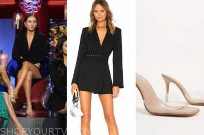 abigail heringer, the bachelor, black blazer dress, clear heels, women tell all
