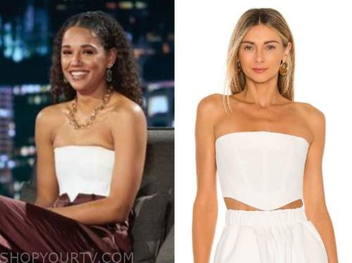 pieper james, the bachelor, white bustier top, women tell all