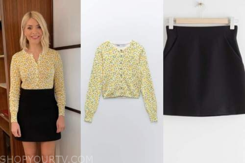 this morning, holly willoughby, yellow floral cardigan, black mini skirt