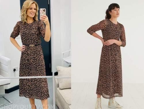 charlotte hawkins, good morning britain, leopard midi dress