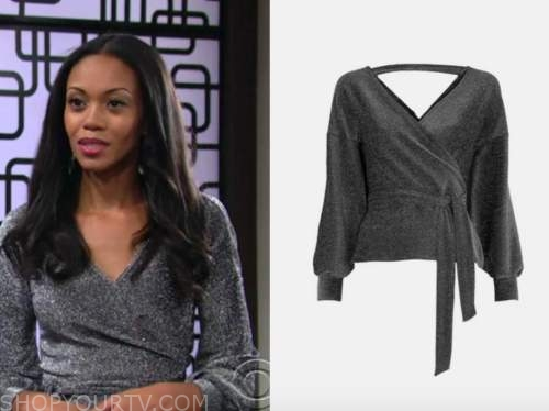 mishael morgan, the young and the restless, amanda sinclair, silver glitter knit top