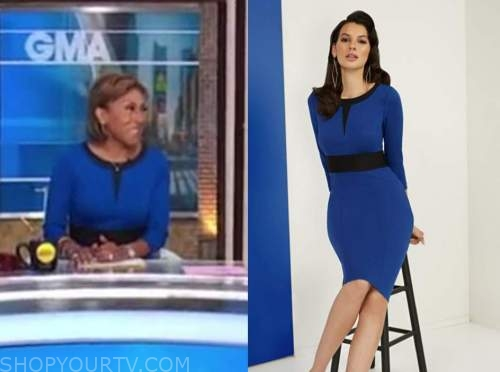 good morning america, blue contrast trim knit dress, robin roberts