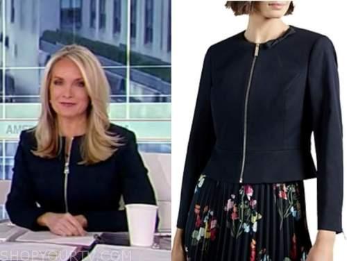 dana perino, america's newsroom, navy blue zip-front jacket