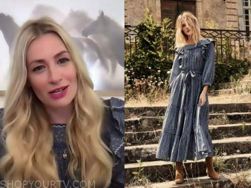 beth behrs, blue floral ruffle dress, drew barrymore show